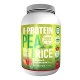 v-protein de ervilha e arroz castanho sabor morango 1kg