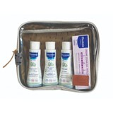 bolsa de viagem com os indispensáveis em taupe