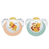winnie the pooh silicone soother 6-18months pink and green 2units