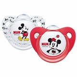 Mickey & minnie chupeta em silicone 0-6meses cores sortidas 2unidades