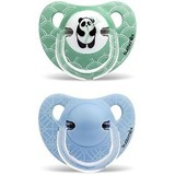 panda anatomical soother in latex 6-18 months green bamboo 2 units