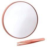 kit espelho de aumento 10x + pinça mini slant rose gold