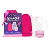 kit cosmic spa: algodão reutilizáveis + luva + bolsa