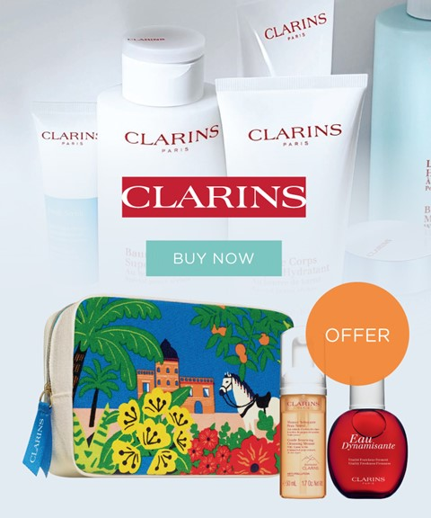 Clarins | offer | purse + 2 travel sizes